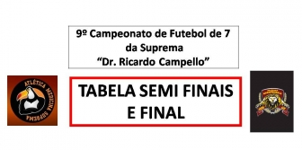 9º Camp. de Futebol de 7 da Suprema - TABELA SEMI FINAL E FINAL