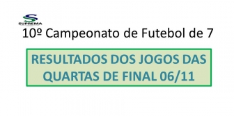 10� Campeonato de Futebol de 7 da Suprema - QUARTAS-DE-FINAL - RESULTADOS